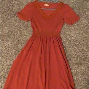 Rusted pumpkin orange anthropology dress